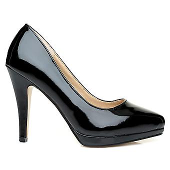 EMMA Black Patent PU Leather Stiletto High Heel Platform Pointed Shoes