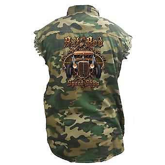 Men's Camo Sleeveless Denim Shirt Rat Rod Speed Shop Denim Vest
