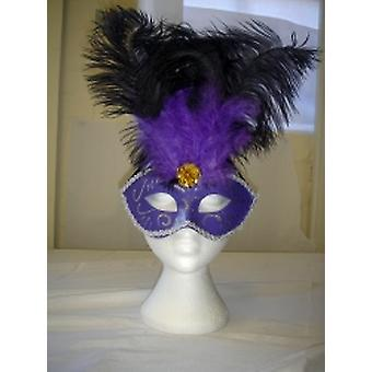 デラックスの紫アイマスク キラキラと羽 (1)