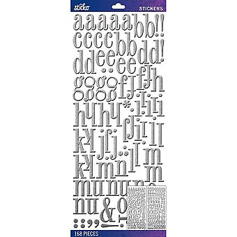 Sticko Alphabet Stickers-Silver Foil Fashion Dimensional