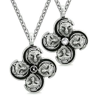 Supernatural Courage Wolf Amulets Love Couples Best Friends Black White Crystals Pendant Necklaces