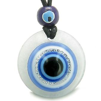 Amulet Evil Eye Reflection Protection Powers Magic Good Luck Medallion Jade Pendant Necklace