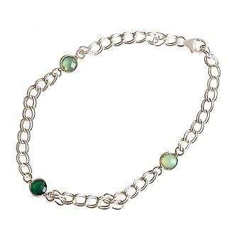 Women - bracelet - 925 Silver - Emerald - chalcedony - green - Meeresgrün - chain - smooth