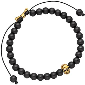 Train bracelet skull with Black Onyx beads and stainless steel 19.5 cm