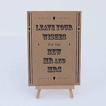 Guest Book Sign Kraft  'Leave Your Wishes' Sign And Easel Wedding