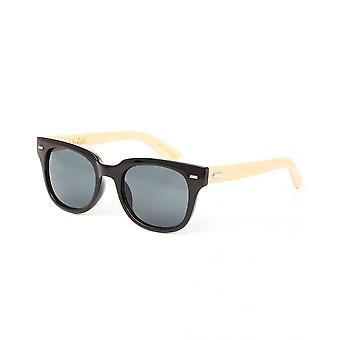 Colin Leslie Unisex Cat Eye Sunglasses Black Frame Bamboo Arms With Smoke Lens