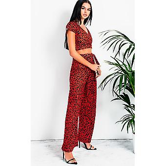 IKRUSH Womens Lola Wide Leg Printed Co-Ord