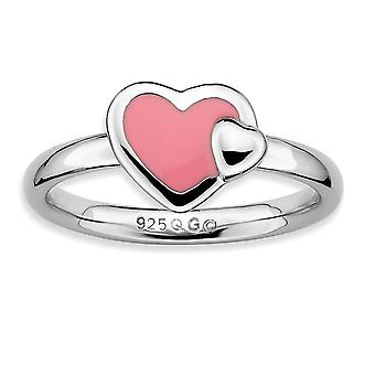 Sterling Silver Rhodium-plated Stackable Expressions Polished Pink Enameled Heart Ring - Ring Size: 5 to 10
