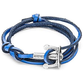 Anchor and Crew Union Silver and Leather Bracelet - Royal Blue