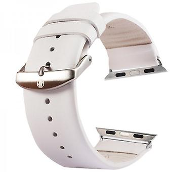 Leather strap for Apple Watch of iWatch 42 mm inc. Adapter white