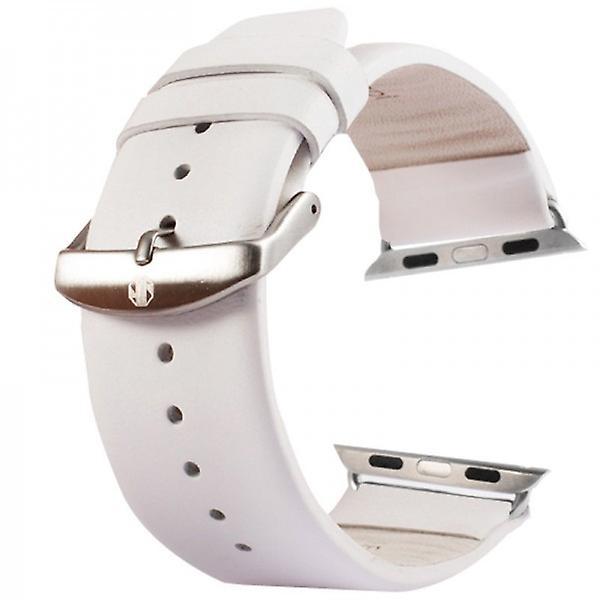 Lederarmband für Apple Watch iWatch 42 mm inc. Adapter Weis