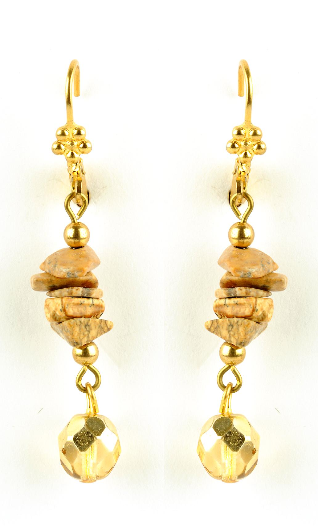 Waooh - jewelry - WJ0808 - earrings with Swarovski yellow & semi-precious stones - mount silver rhinestones