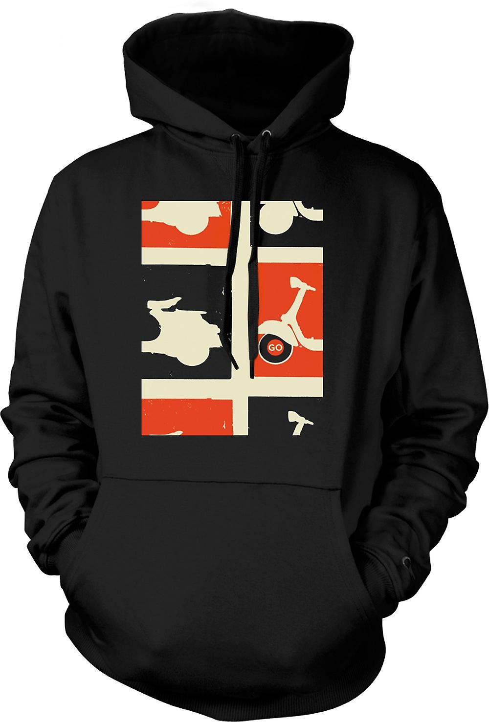 Mens Hoodie - Vespa Scooter - Pop Art Poster Go