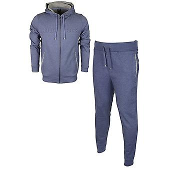 Hugo Boss 50381426 50381886 Cotton Regular Fit Hooded Blue Melange Tracksuit