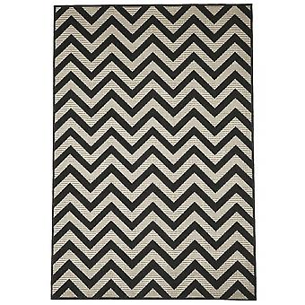 Outdoor carpet for Terrace / balcony black natural white ivory Contemporary Zigzag Black 200 / 285 cm carpet indoor / outdoor - for indoors and outdoors