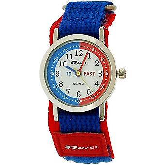 Ravel Time Teacher Kids Boys Blue / Red Easy Fasten Strap Watch R1507.55