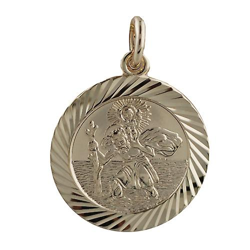 9ct Gold 21mm round diamond cut edge St Christopher Pendant