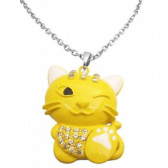 Enamel Painted Cute Yellow Cat Pendant Very Mischievous w/ White Claw