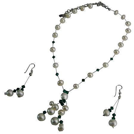 Potato Freshwater Pearl With Genuin Swarovski Erinite Crystal Handcrafted Necklace Set w/ Tassel Jewelry Set