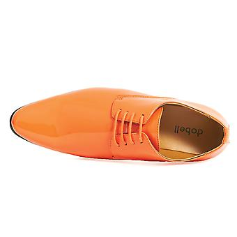 Dobell Mens Orange Dress Shoes Patent Contemporary Style Laced