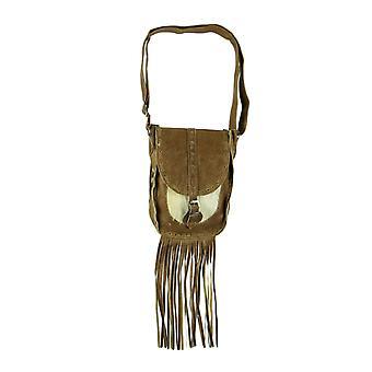 Genuine Leather Hair-On Hide Trim Fringed Crossbody Bag Small
