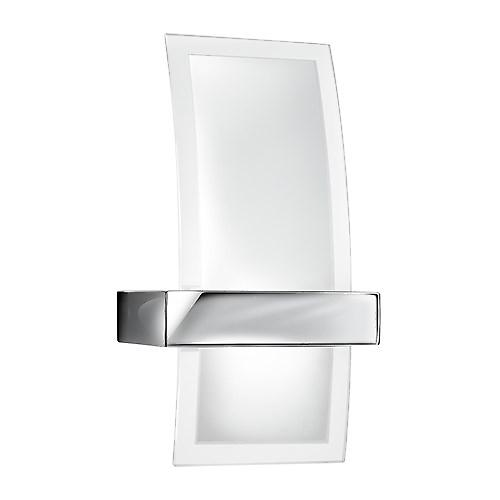 Searchlight 5115 Chrome Curved Wall Light With Clear & Frosted Glass Diffuser
