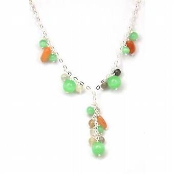 The Olivia Collection Sterling Silver Jade Coloured Glass Bead Necklace
