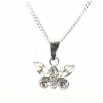 Toc Sterling Silver Clear Crystal Butterfly Pendant on 18 Inch Chain