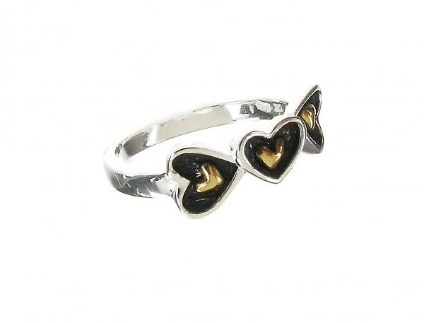 Cavendish French Oxidised Sterling Silver Gold Vermeil Centre Hearts Ring