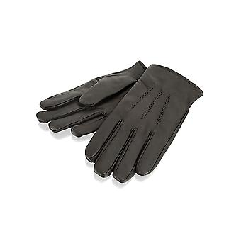 Mens Brown Stitch Detail Leather Gloves