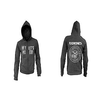 Ramones Hoodie Hey Ho Lets Go Seal Band Logo new Official Mens Black Zipped