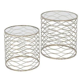 Mobili Bilancia di due tavoli nidi con finitura in oro in difficoltà e top in vetro