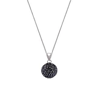 Eternal Collection Shamballa Jet Black Glitter Ball Silver Tone Pendant Necklace