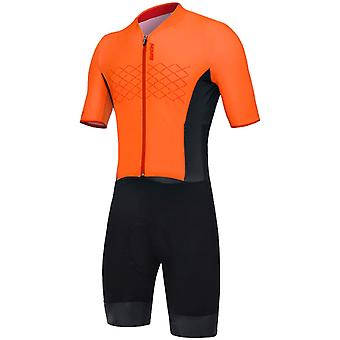 Santini Fluorescent Orange 2019 Redux TT Road Short Sleeved Cycling Suit