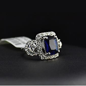 18K Gold Plated Princess Cut Blue Cubic Zirconia Ring
