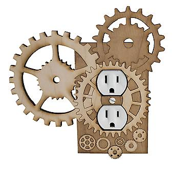 Steampunk outlet plate wall plug - raw wood - 6.7