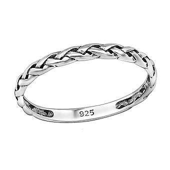 Braided - 925 Sterling Silver Plain Rings - W30344X