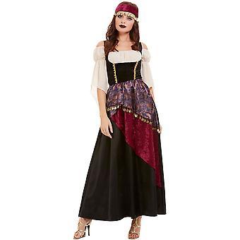 Wahrsagerin Kostüm Damen mit Kleid und Stirnband Fortuneteller Damenkostüm Halloween Karneval