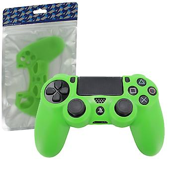 Soft silicone rubber skin grip cover for sony ps4 controller with ribbed handle - green