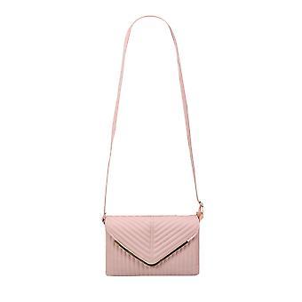 Pastel Pink Textured Shoulder Bag With Detachable Strap