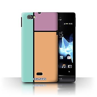 STUFF4 Case/Cover for Sony Xperia Miro/ST23I/3 Tiles/Orange/Pastel Tiles