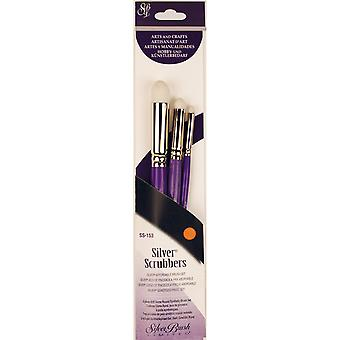 Silver Scrubber Stiff Synthetic Brush Set 3/Pkg-Dome Round  SS153