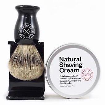 Executive Shaving Natural Shaving Cream and Black Super Badger Brush Set