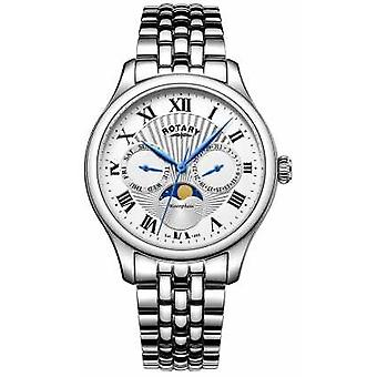 Rotary Mens Moonphase Stainless Steel Silver GB05065/01 Watch