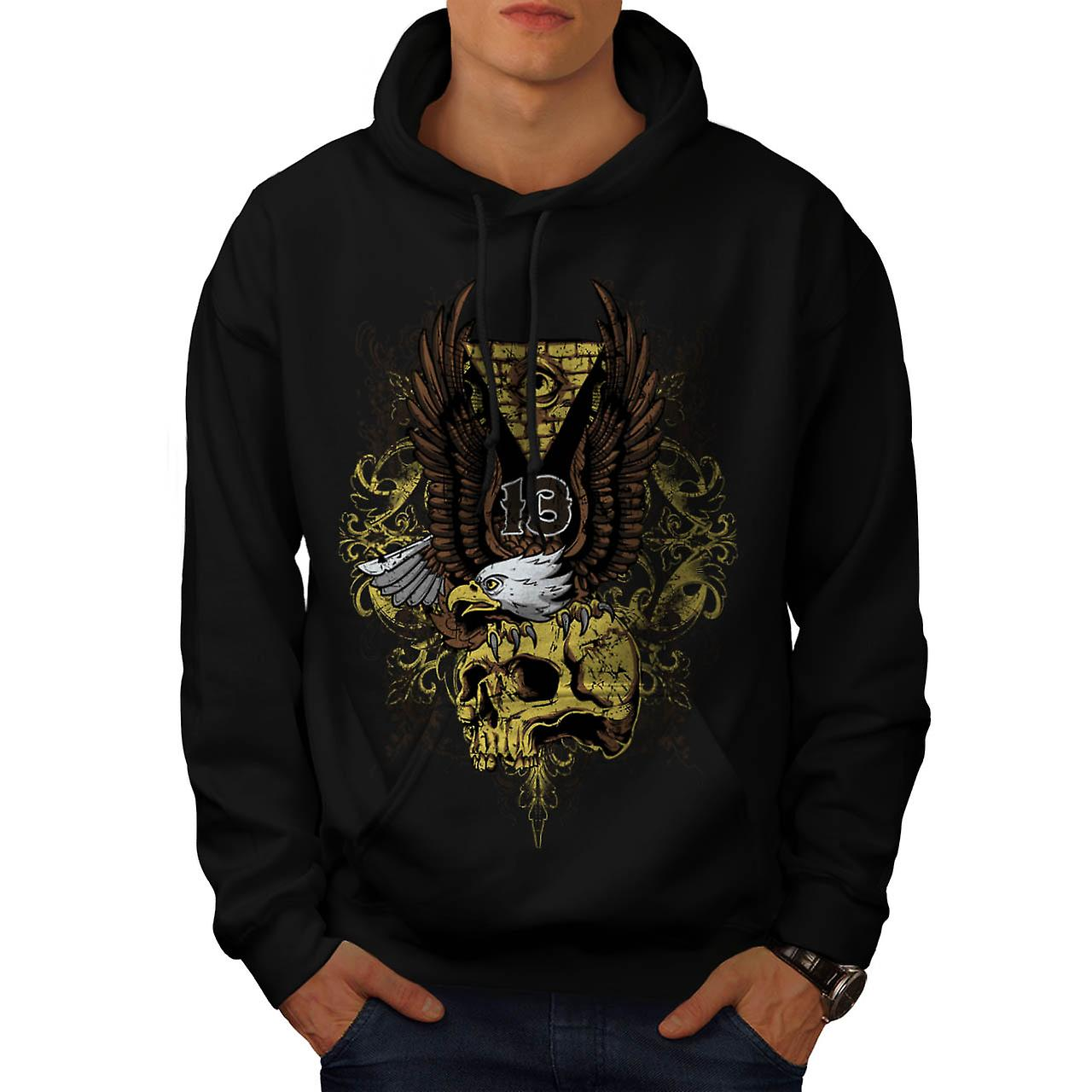 Evil Eagle Bird Skull Deadly Eye Men Black Hoodie | Wellcoda