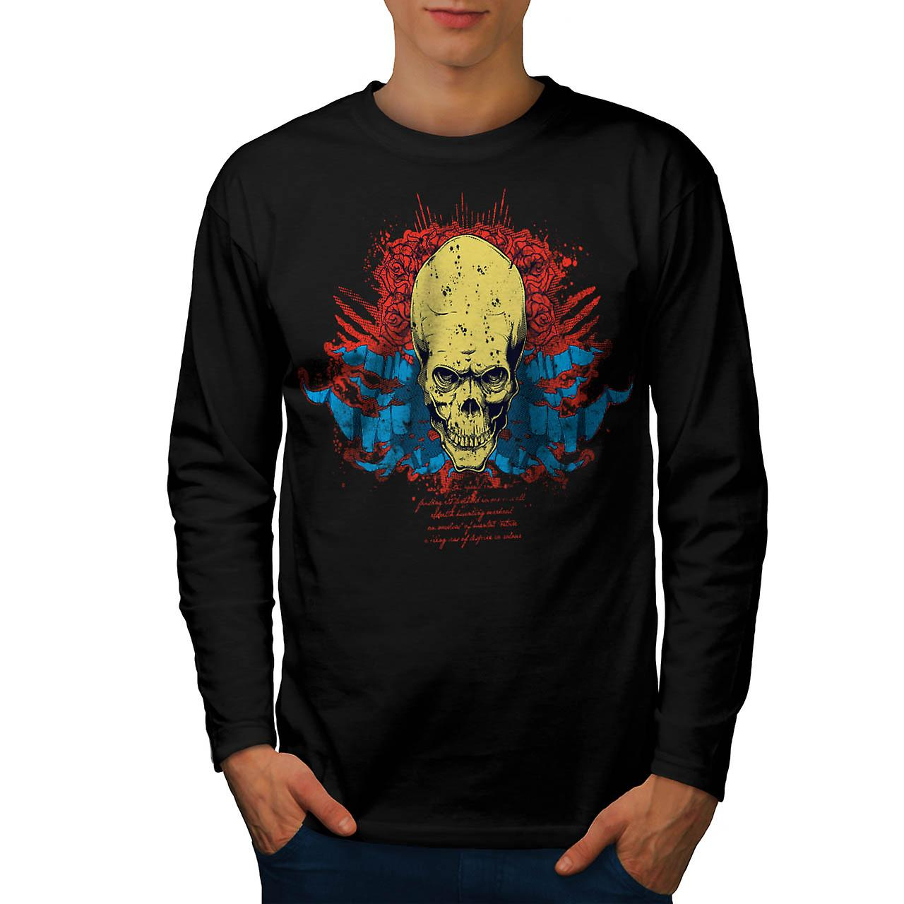 Creepy Death Rose Skull Men Black Long Sleeve T-shirt | Wellcoda