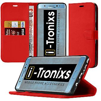 i-Tronixs OnePlus 3T PU Leather Wallet Classic Flip Case + Screen Protector Guard -Red