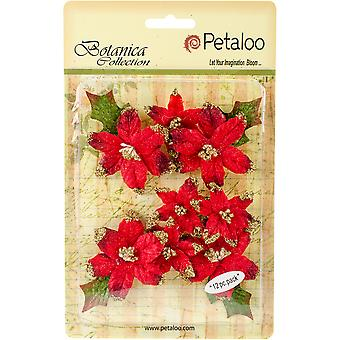 Botanica Regal Gold Poinsettia 12/Pkg-Red RS5010-002