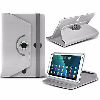 iTronixs - Condor Tab TCV-703G (7 inch) Tablet Case PREMIUM PU 360 Rotating Leather Wallet Folio Faux 4 Springs Stand - White