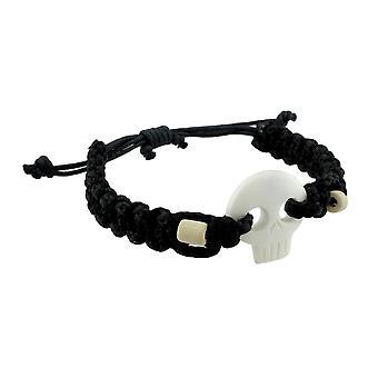 Nylon nero cavo regolabile bianco teschio collana intrecciata